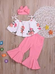 <b>Wholesale Flower</b> Tie-Wrap Flare Pants Girl 3 <b>Pieces Set</b> ...