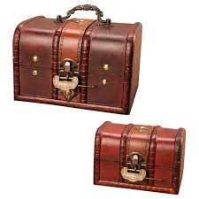<b>Wooden Treasure Chest</b> Box, Set of 2 Decorative Wood Storage ...