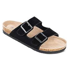 TF STAR <b>Men's</b> Arizona <b>Cow</b> Suede <b>Leather</b> Slide <b>Sandals</b>,2-Strap