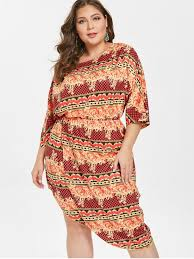 [44% OFF] <b>2019 Printed Plus Size</b> Asymmetrical Dress In MULTI-A ...