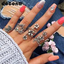 <b>docona</b> Vintage Rose Flower Rings Set for <b>Women</b> Girl <b>Bohemia</b> ...