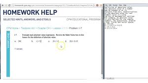 cpm homework help absolute value cpm homework help 1 1 1 1 7 absolute value