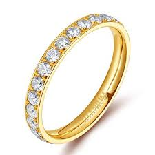TIGRADE 3mm Women Titanium Engagement Ring ... - Amazon.com