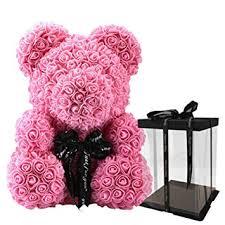 Qlan Artificial Rose Teddy Bear Shaped Doll Romantic <b>Gifts</b> for ...