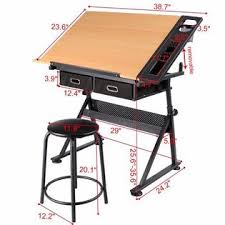 Yaheetech Adjustable Height <b>Drawing</b> Table <b>Drafting</b> Desk with P2 ...
