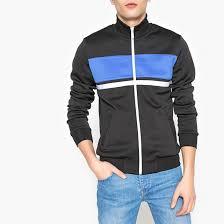 Zip-up high neck sweatshirt with block stripe black <b>La Redoute</b> ...