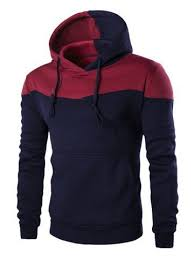 <b>IZZUMI</b> Classic Color Block Front Pocket Hooded Long Sleeves ...