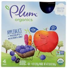 Plum <b>Organics Applesauce Mashups</b> With Blueberry & Carrot, 4 ...