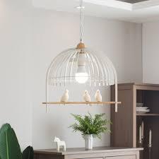 <b>Modern LED</b> Pendant Light Metal/Wood <b>Resin</b> Birdcage Shape ...