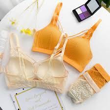 <b>Roseheart Women Fashion</b> Yellow Sexy Lingerie Wireless Bra Set ...