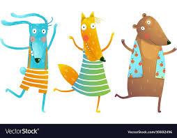 <b>Cute</b> Baby Animals <b>Rabbit Fox Bear</b> Dancing or Vector Image
