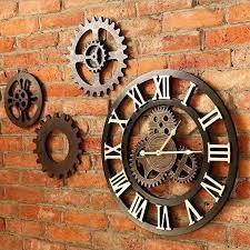 Living room <b>gear wall</b> clock retro <b>creative wooden</b> clock home ...