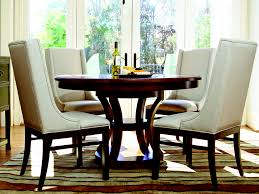 Round Dining Room Furniture Small Space Round Dining Room With 4 White Upholstered Chair
