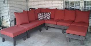 u shaped red fabric outdoor couch with black wooden base and back added by home furniture captivating design ideas of diy captivating design patio ideas diy
