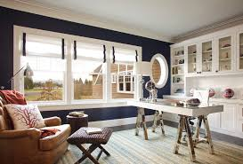 navy and white home office beach style with office space reading lamp blue white home office
