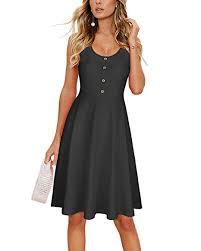OUGES <b>Women's Summer</b> Sleeveless Button <b>Flare</b> Tank Dress ...