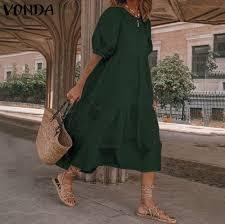 Summer Elegant Dress Sexy Lantern Sleeve Mid-Calf Dresses <b>2021</b> ...