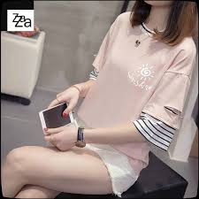 Za Summer New <b>Korean Fake Two-piece</b> Half-sleeve T-shirt Top ...