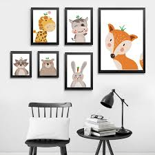 <b>Cartoon</b> Forest <b>Animals</b> Posters Prints Fox Bear Giraffe <b>Canvas</b> ...
