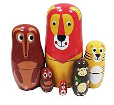 <b>6pcs</b> Cutie <b>Cartoon</b> Lion Wolf Tiger Monkey Owl <b>Animal</b> Nesting ...
