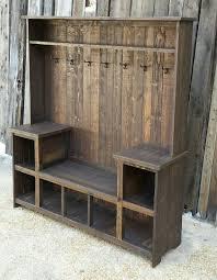 rustic reclaimed hall tree bench barn wood ideas