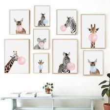 Cartoon Zebra Giraffe Koala Balloon Nordic <b>Posters</b> And <b>Prints</b> Wall ...