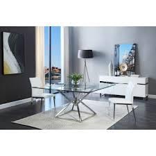 modern wood dining room sets: modrest xander modern square glass dining table