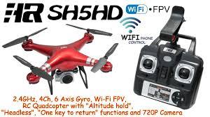 HR SH5HD <b>2.4GHz</b>, <b>4Ch</b>, 6 Axis Gyro, Wi-Fi FPV, <b>RC Quadcopter</b> ...