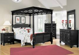 extraordinary black bedroom furniture matched with white accent wall color furnished with queen bed applying canopy black bed with white furniture