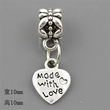 30pcs /Lot <b>Letter</b> Made with Love heart Vintage Silver <b>Dangle</b> ...