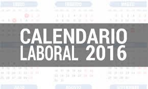 Resultado de imagen de calendario laboral 2016