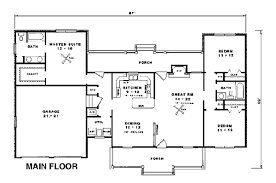 House Plan at FamilyHomePlans comCountry Ranch House Plan Level One