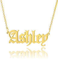 <b>Custom</b> 18k Gold Plated <b>Old English</b> Name <b>Necklace</b> - Valentines ...