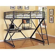 l powell modern versatile safe black metal full size youth study loft bunk bed desk shelf bunk bed desk