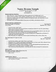 best resumes examples   professional experience and work        nanny resume sample for professional profile with professional experience and education  best resumes examples
