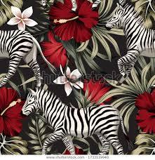 Tropical <b>floral hawaiian</b> palm leaves, hibiscus <b>flower</b>, <b>zebra</b> animal ...