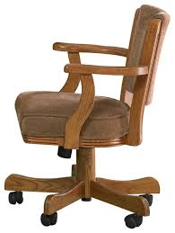 casual dining chairs with casters: casual oak mitchell upholstered arm game chair with casters oak traditional office chairs