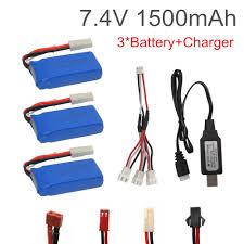 <b>3PCS</b> 7.4V <b>1500mAh</b> Lipo battery With USB Charger For FT009 RC ...