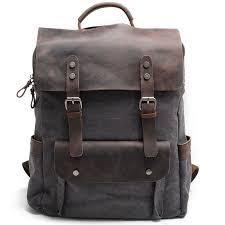 Vintage Large Laptop Thick Canvas Travel Rucksack Bag Splicing ...