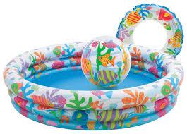 Купить <b>детский</b> надувной <b>бассейн Intex Рыбки</b> (59469) с мячом и ...