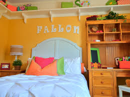 girls room playful bedroom furniture kids: playful childrens room with bright yellow wall and desk