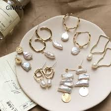 <b>GWACC</b> Korea <b>Design</b> Metal Gold Drop Earrings Baroque Irregular ...
