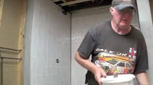 tile board bathroom home: diy basement bathroom part  installing tile board