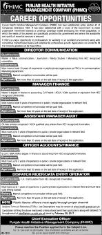jobs punjab health initiative management company