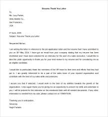 free thank you letter templates –    free word  pdf documents    download editable resume thank you letter template