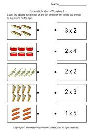 Matching Pictures with Multiplication Problems - Worksheet 1