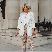 <b>WOTWOY Double Breasted White</b> Black Blazer Female Long Sleeve ...