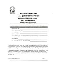 authorization to repair form bonner body shop tuscaloosa alabama generic bonners 001