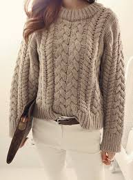 Round Neck <b>Long</b> Sleeves Solid Color Cable-Knit Casual Sweater ...