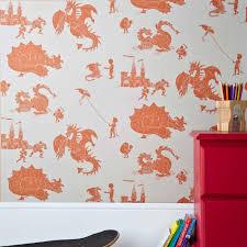 Orange Bedroom Wallpaper Cool Orange Bedroom Wallpaper For Kids Beddrom With Dino And